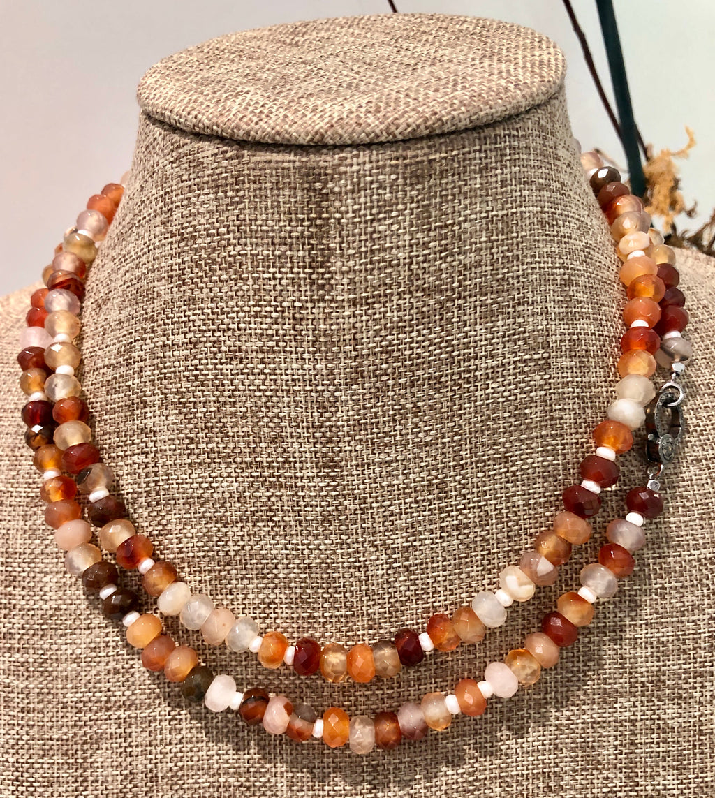 carnelian, pearl and pave diamond hook necklace