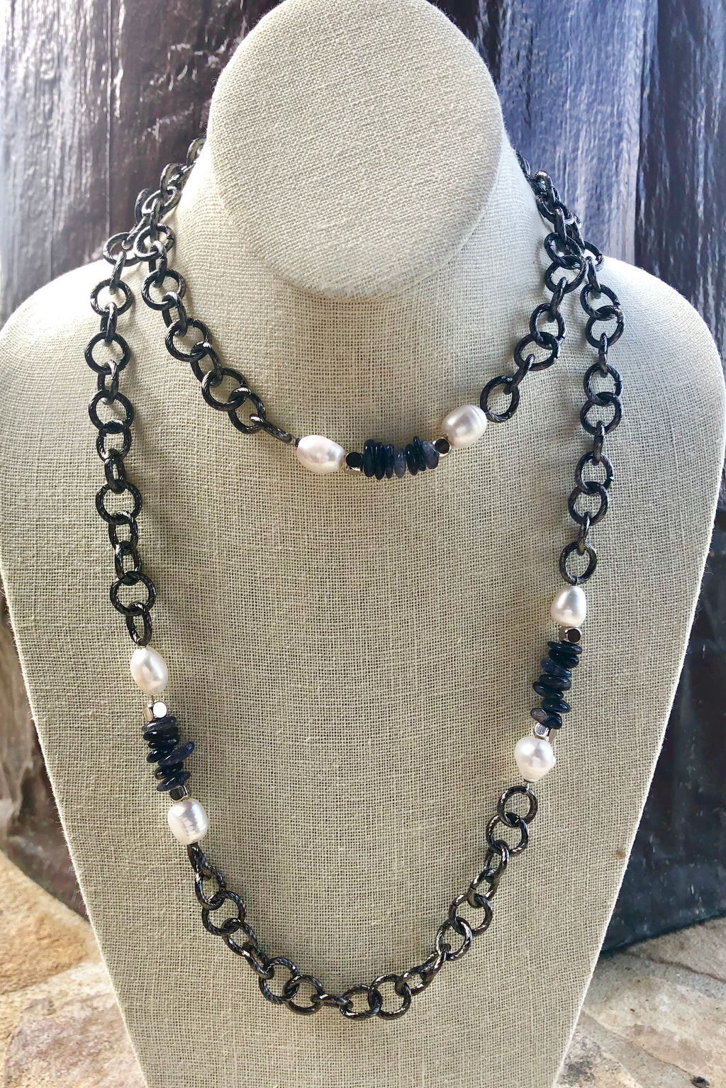iolite and freshwater baroque pearl chain necklace