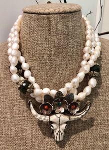 freshwater baroque pearl, agate and longhorn flower necklace
