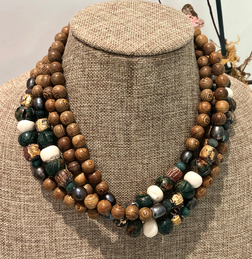 freshwater baroque pearl, wood, green bone and jasper necklace