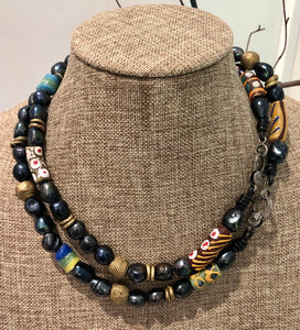 african beads and pave diamond necklace