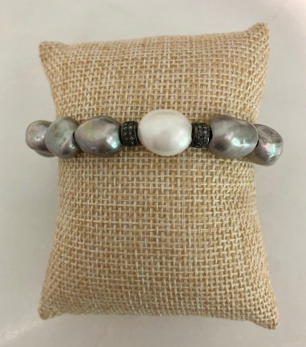 silver and white pearl diamond rondelle bracelet