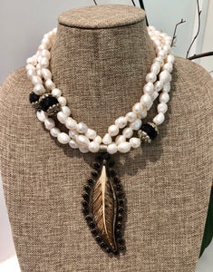 freshwater baroque pearl, agate and black feather necklace