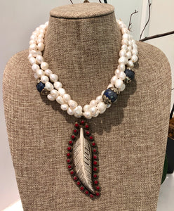 freshwater baroque pearl, agate and red feather necklace