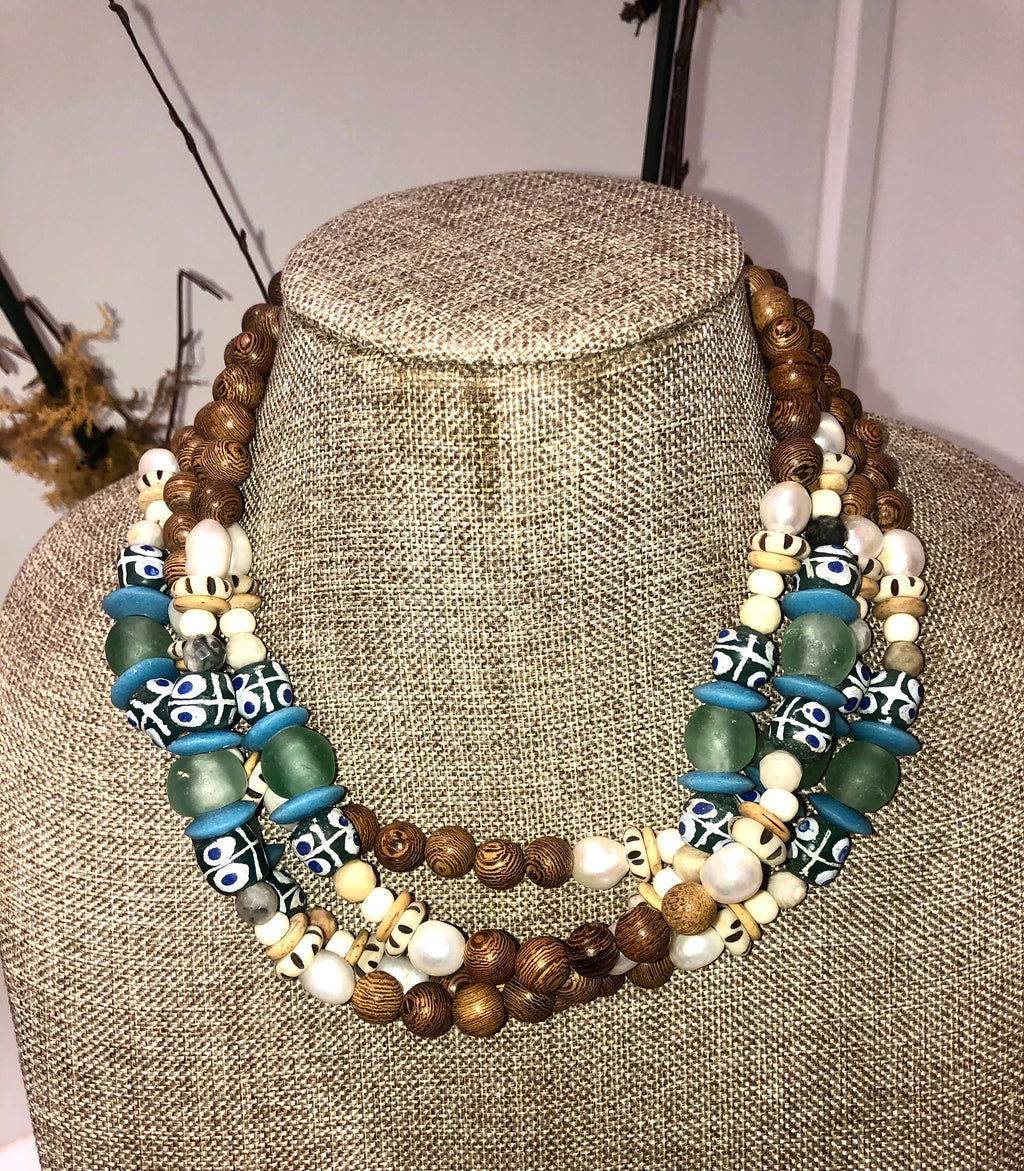 freshwater baroque pearl, wood, green krobo african bead and jasper necklace