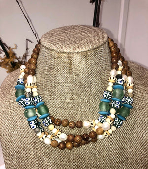 freshwater baroque pearl, wood, green krobo african bead and jasper mask chain and necklace