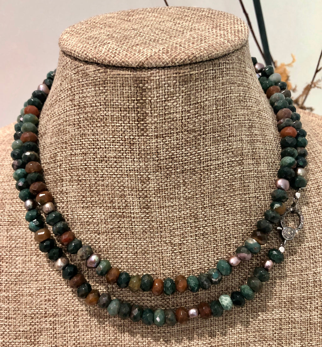 jasper, pearl and pave diamond hook necklace
