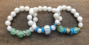 green african trade bead, white wood, and freshwater baroque pearl bracelet