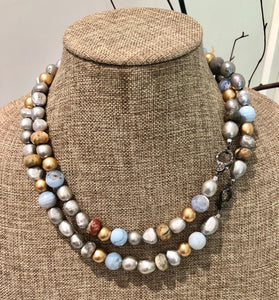 silver pearl with agate and diamond necklace