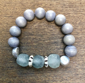 grey wood, silver freshwater baroque pearl and african trade bead bracelet