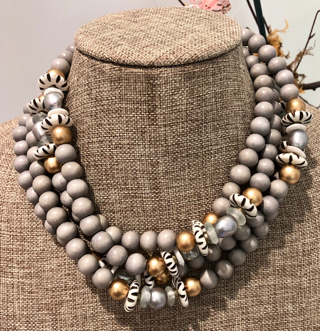 silver freshwater baroque pearl, grey wood, and african trade bead necklace