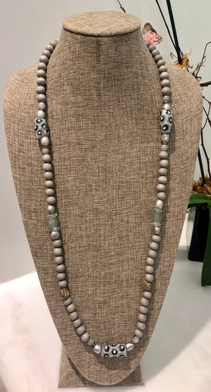 silver freshwater baroque pearl, grey wood, and painted african trade bead necklace