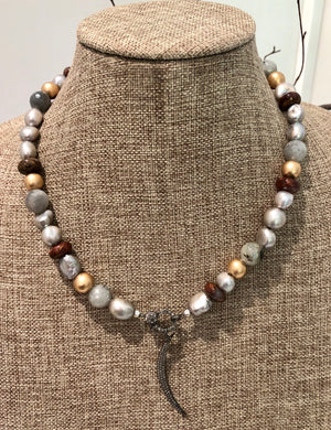 silver pearl with jasper and diamond necklace
