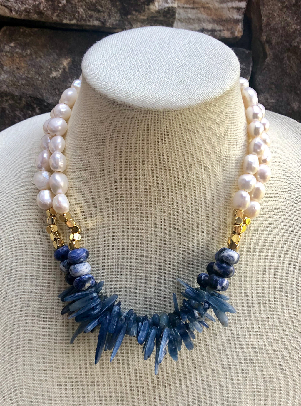 kyanite and freshwater baroque pearl necklace