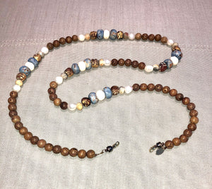 freshwater baroque pearl, wood, light blue bone and agate mask chain and necklace