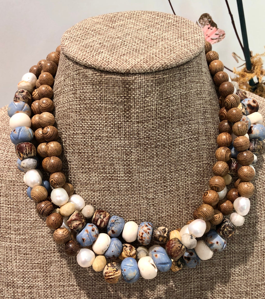 freshwater baroque pearl, wood, light blue bone and agate necklace