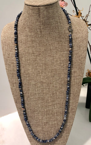 sodalite, pearl and pave diamond hook necklace