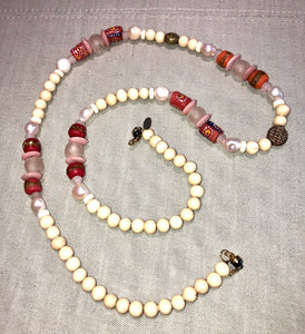 freshwater baroque pearl, wood, pink glass african bead and quartz mask chain and necklace