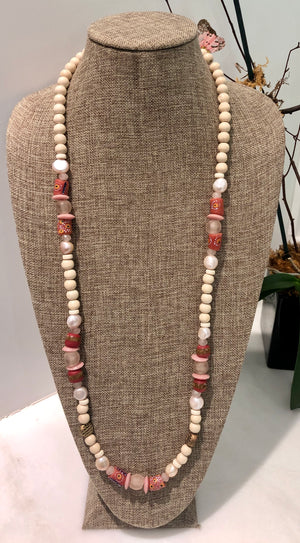 freshwater baroque pearl, wood, pink glass african bead and quartz necklace