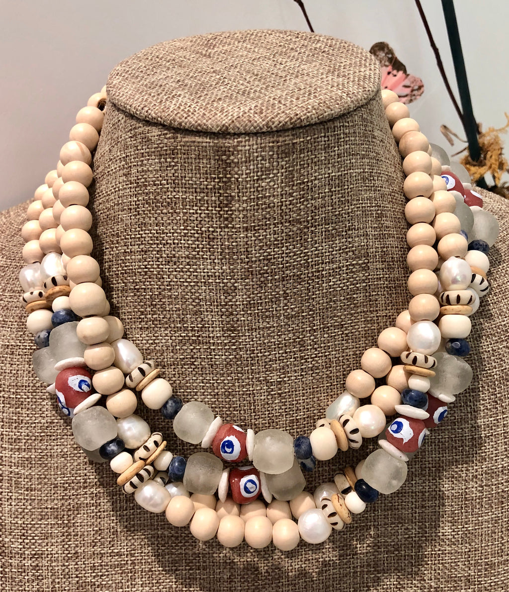 freshwater baroque pearl, wood, pink krobo african bead and sodalite necklace