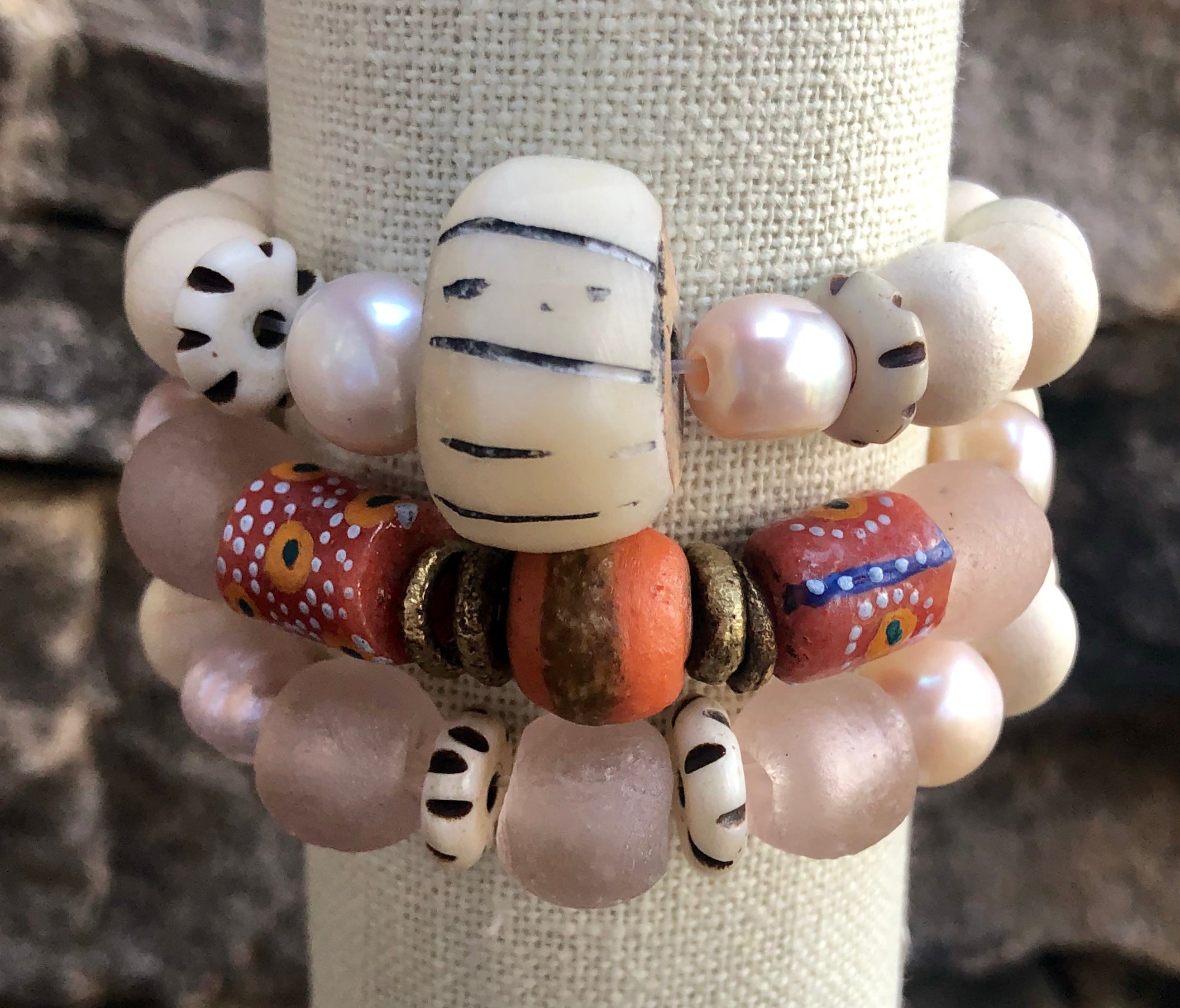 pink african trade bead, white wood, pink freshwater baroque pearl bracelet