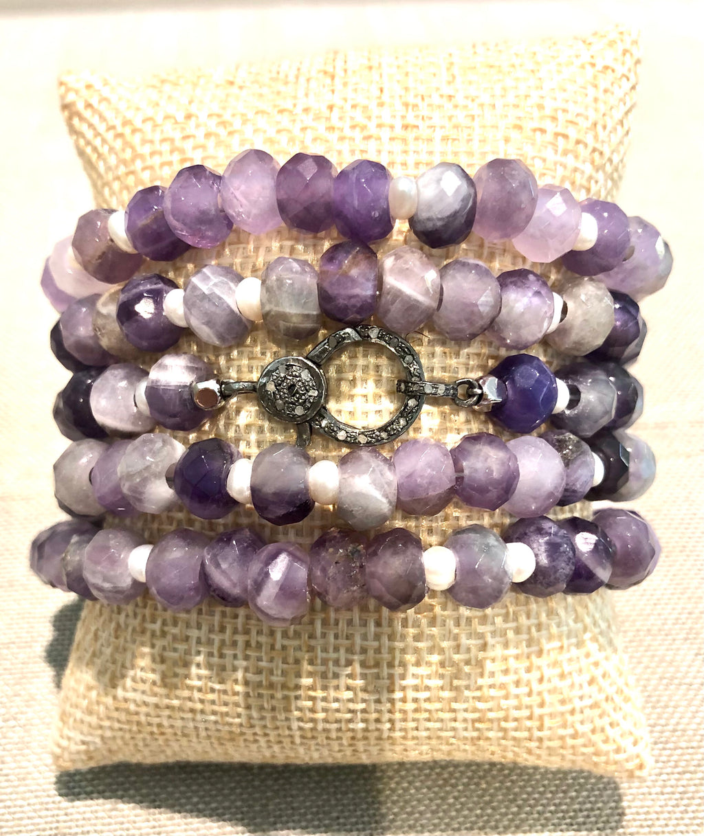 amethyst, pearl and pave diamond hook bracelet