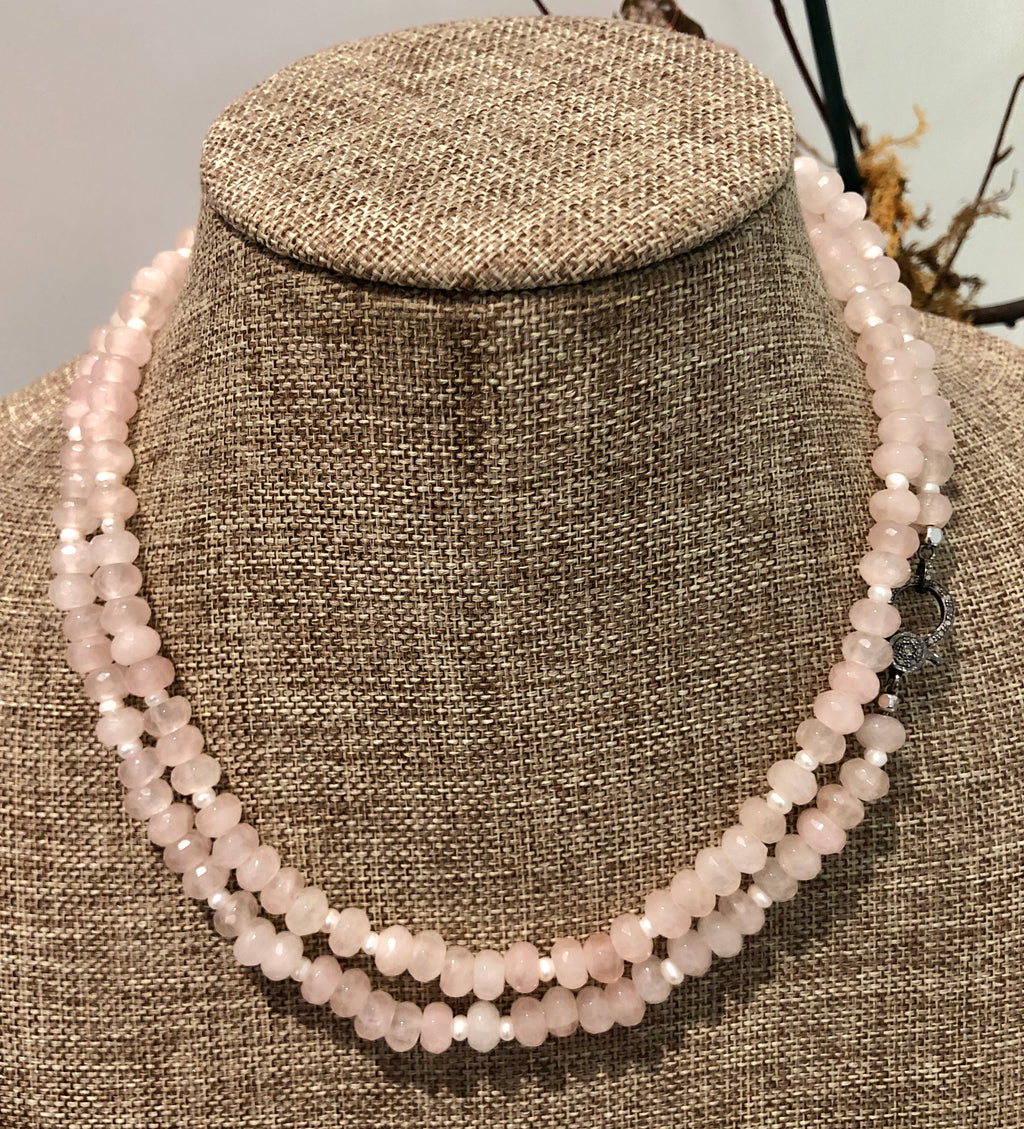 quartz, pearl and pave diamond hook necklace
