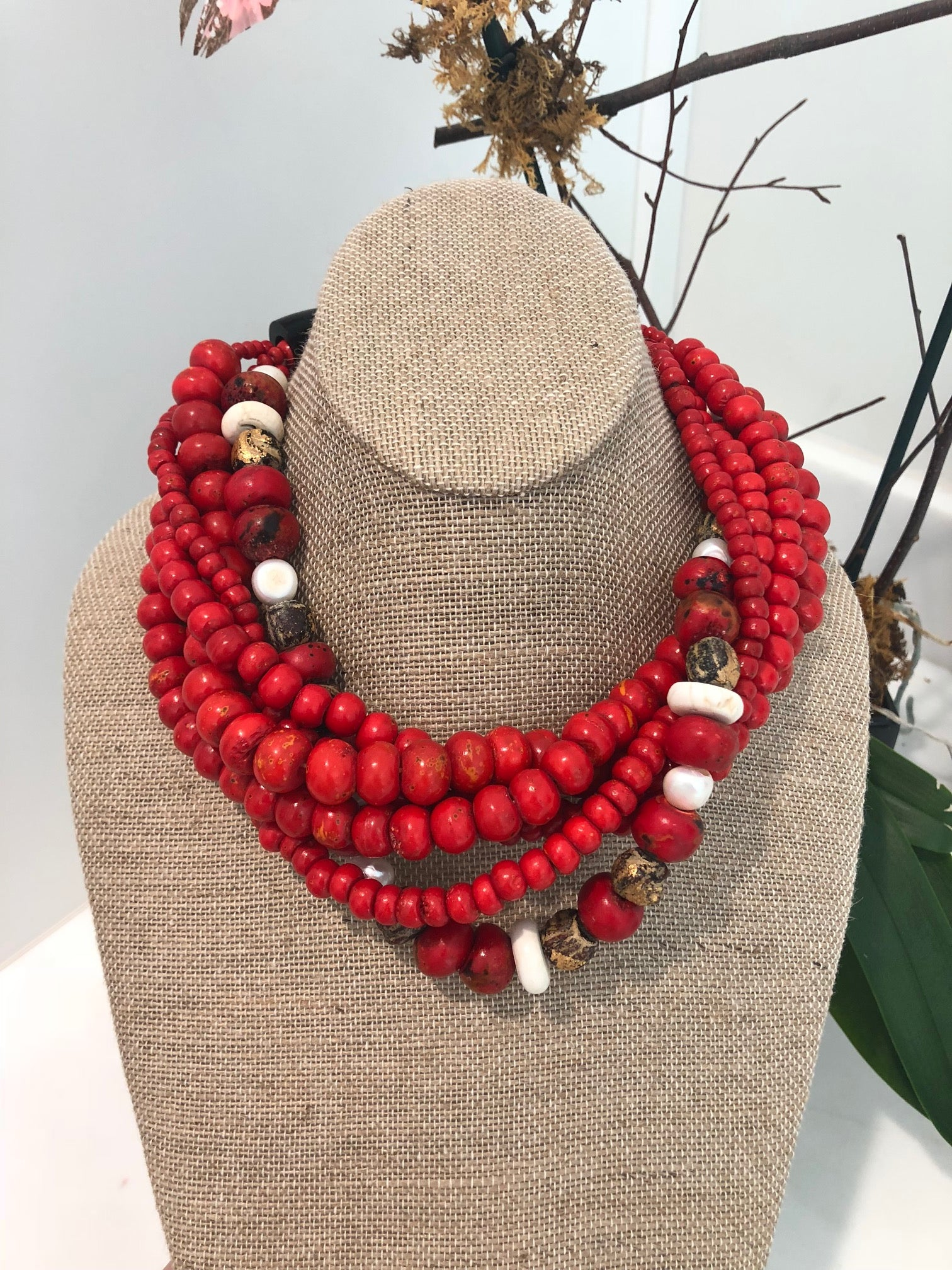 red chunky necklace