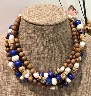freshwater baroque pearl, wood, royal blue bone and sodalite mask chain and necklace