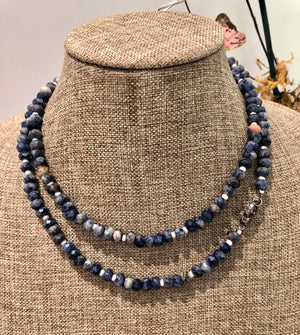 sodalite, pearl and pave diamond hook bracelet
