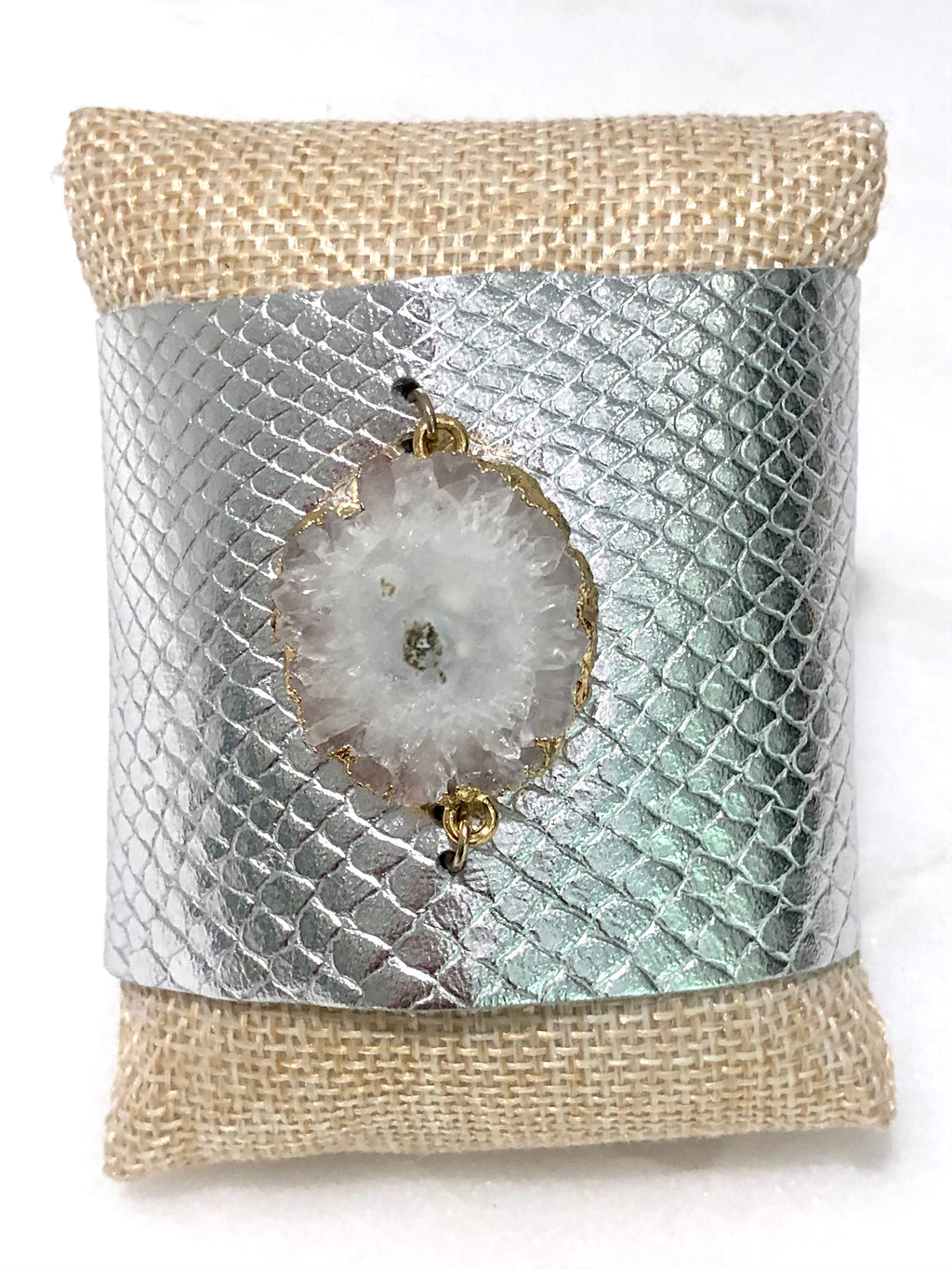 silver leather cuff with druzy