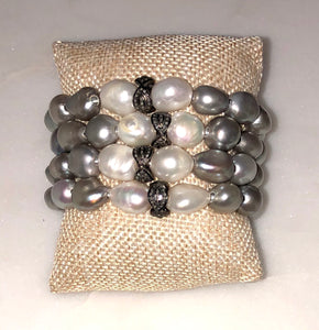 silver and white pearl diamond scalloped rondelle bracelet