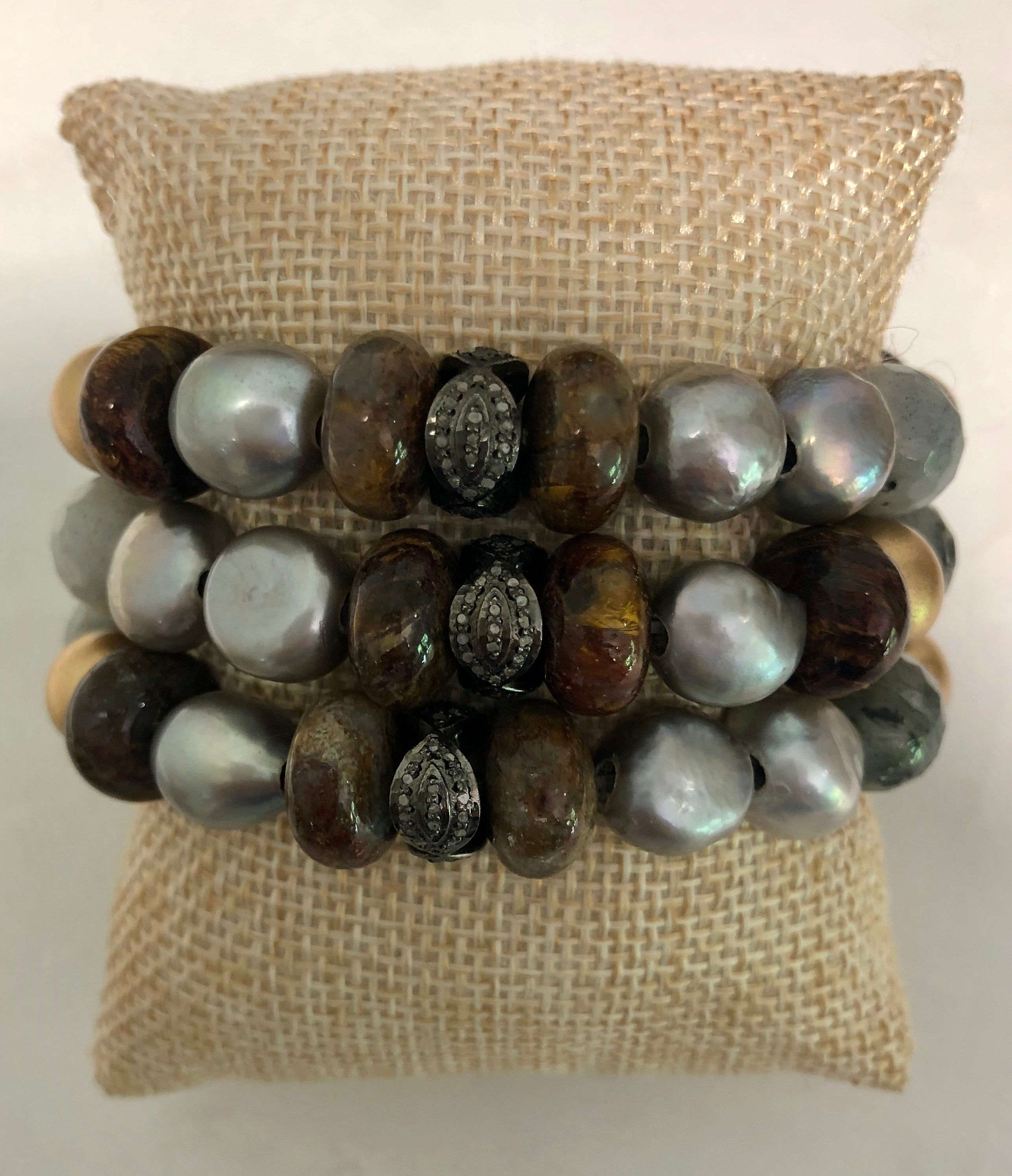 silver pearl with jasper and diamond bracelet