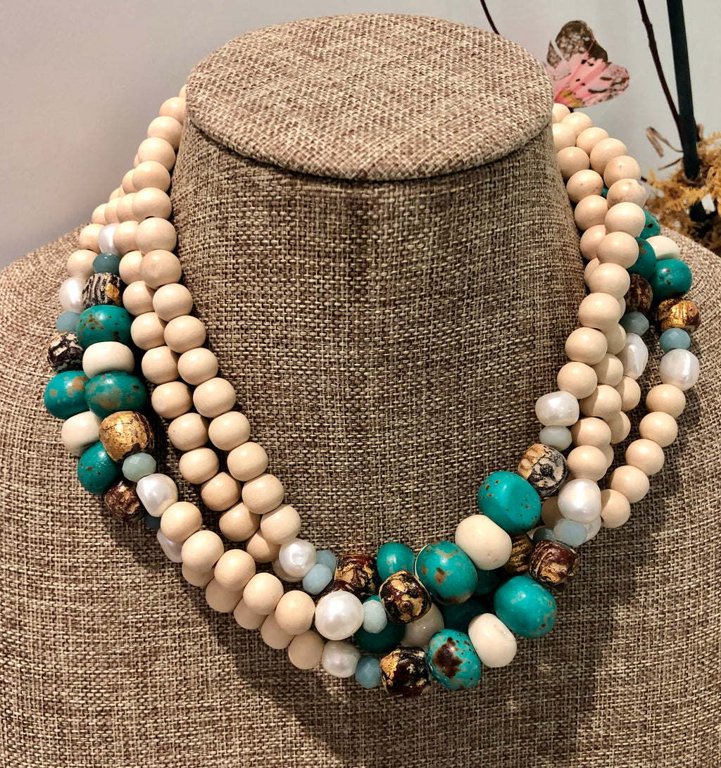 freshwater baroque pearl, wood, turquoise bone and amazonite necklace