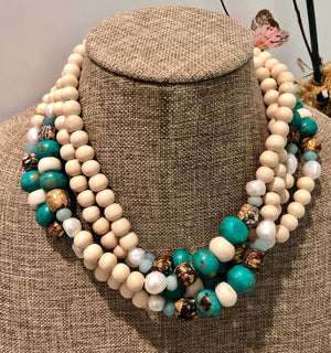 freshwater baroque pearl, wood, turquoise bone and amazonite mask chain and necklace