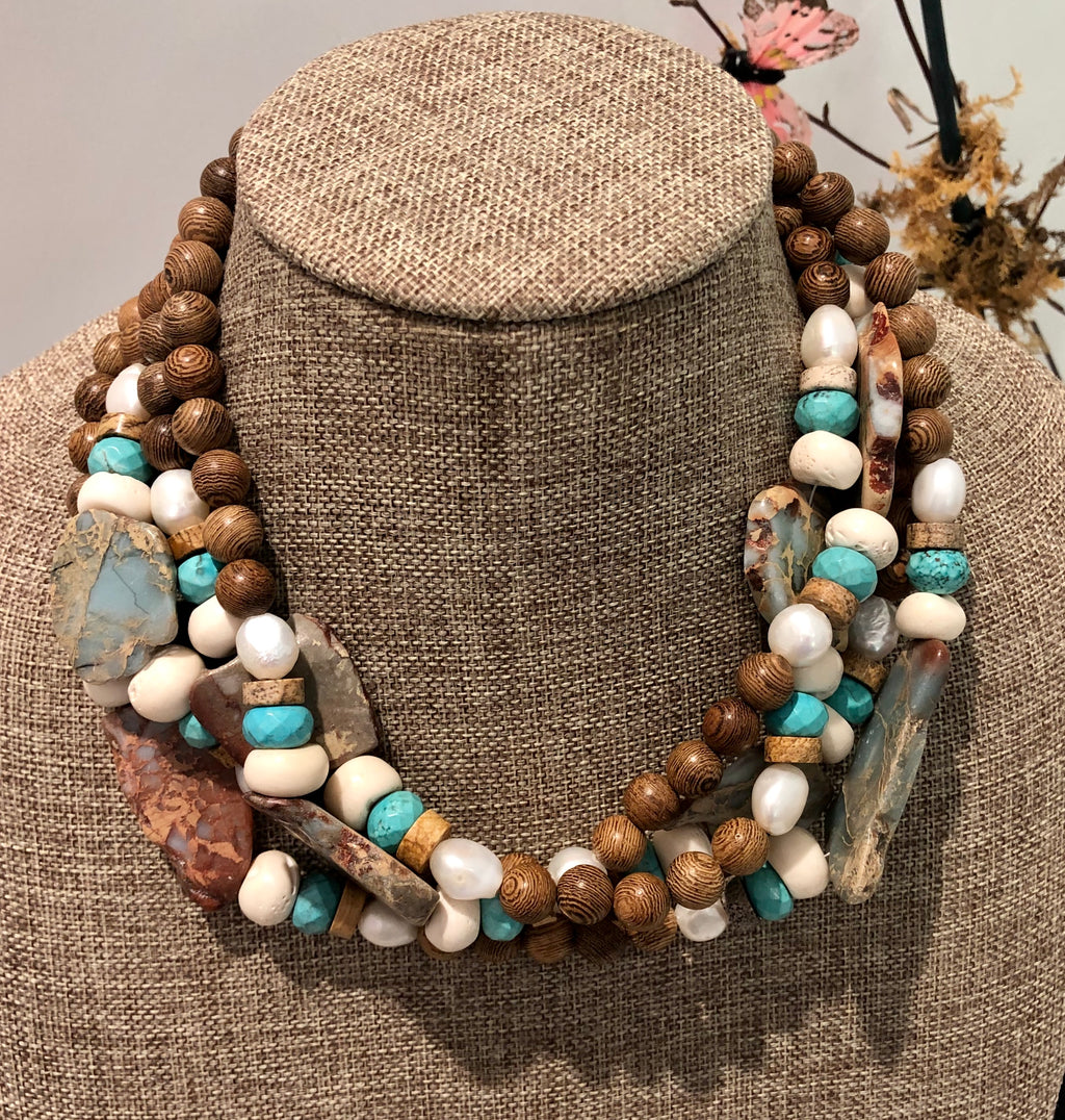 freshwater baroque pearl, wood, turquoise howlite and agate necklace
