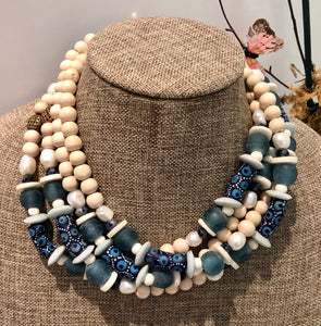 freshwater baroque pearl, wood, blue african bead and sodalite necklace