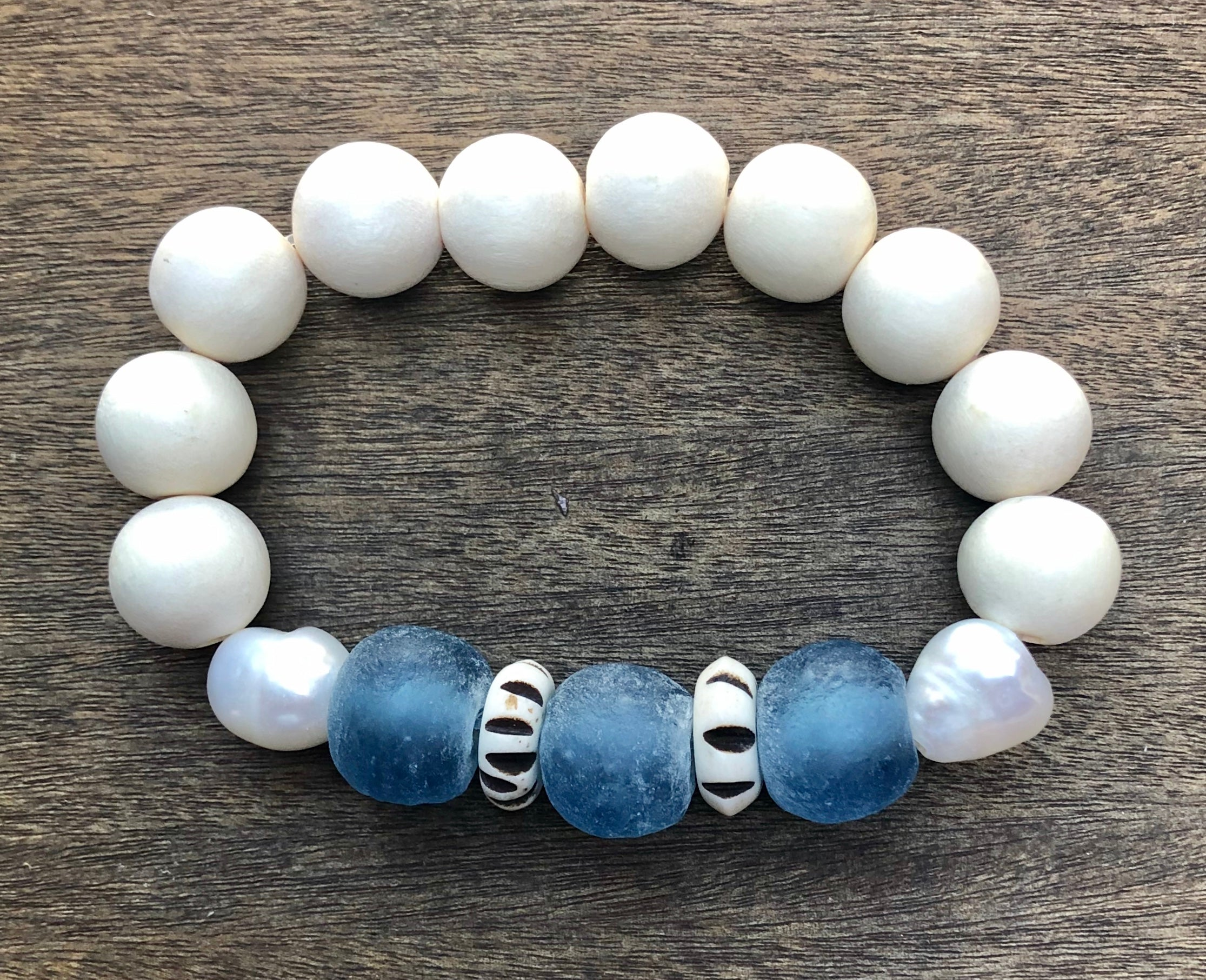 wedgwood african trade bead, white wood, and freshwater baroque pearl bracelet
