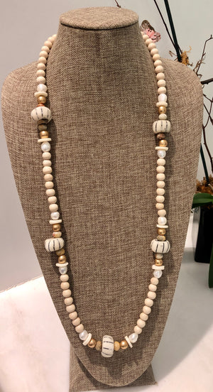 freshwater baroque pearl, wood, bone and agate necklace