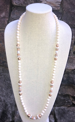 freshwater baroque pearl, white wood, and african trade bead necklace
