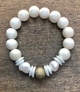white african trade bead, white and gold wood, and freshwater baroque pearl bracelet