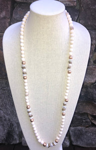 freshwater baroque pearl, white wood, and african trade bead mask chain and necklace