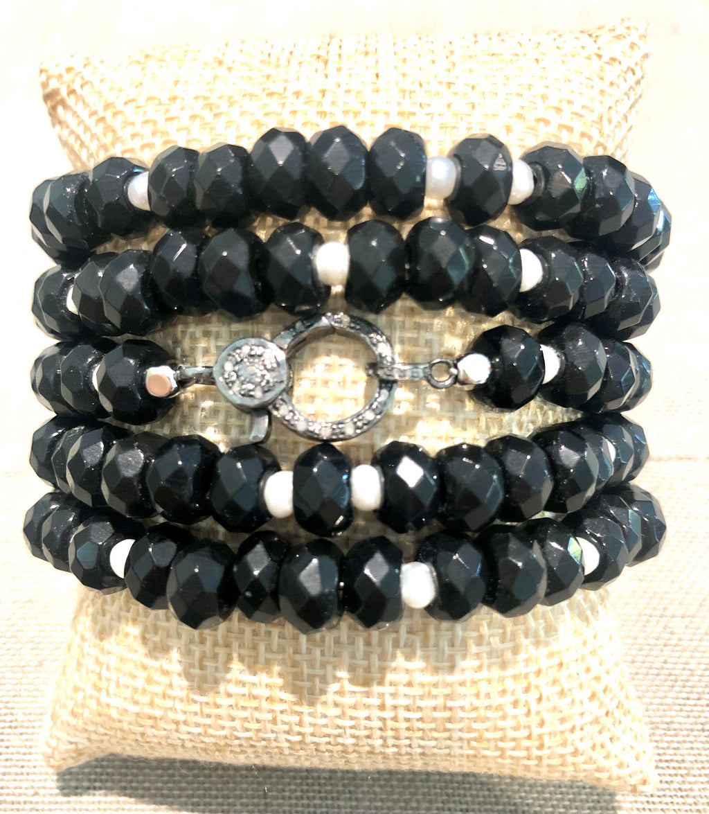black obsidian, pearl and pave diamond hook bracelet