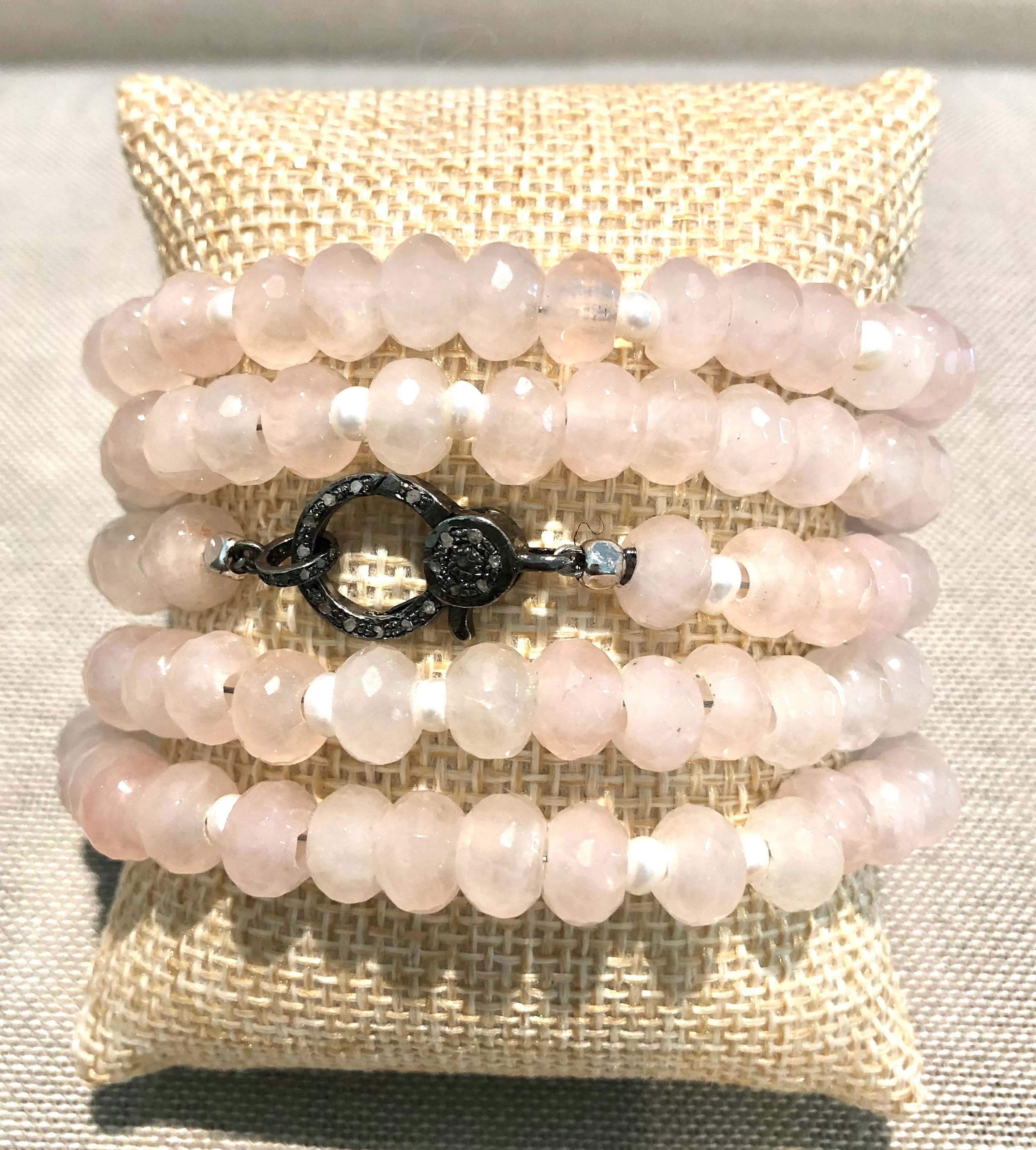 quartz, pearl and pave diamond hook bracelet