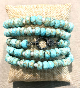 turquoise howlite, pearl and pave diamond hook bracelet