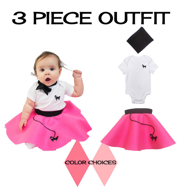 Infant 3 pc - 50's Poodle Skirt Outfit