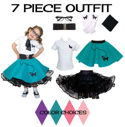 Toddler 7 pc - 50's Poodle Skirt Outfit