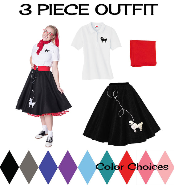 Adult 3 pc - 50's Poodle Skirt Outfit