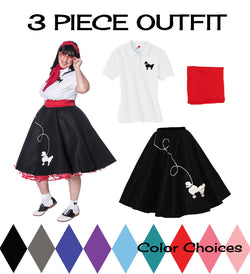 Plus Size 3 pc - 50's Poodle Skirt Outfit