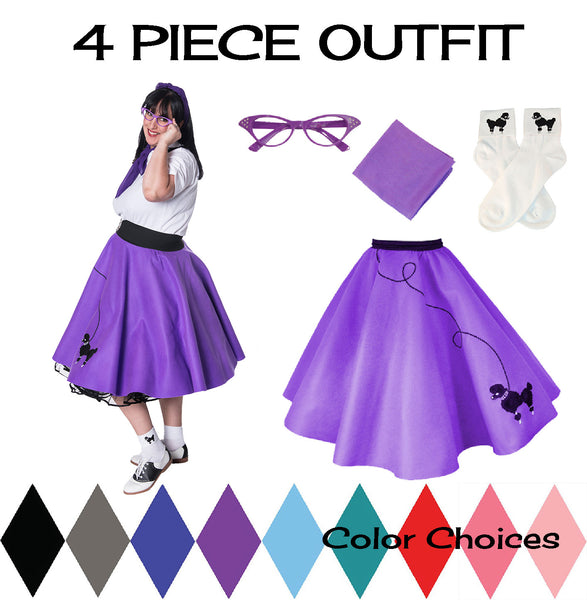 Plus Size 4 pc - 50's Poodle Skirt Outfit